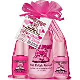 Piggy Paint 100% Non-Toxic Girls Nail Polish - Safe, Chemical Free Low Odor for Kids, Cuddles and Kisses (Light Pink, Bright Pink, Remover)