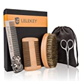 LELEKEY Beard Brush,Comb and Mustache Scissor Set