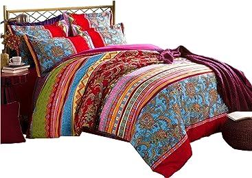 LELVA Boho Style Bedding Set Bohemian Ethnic Style Bedding Set Boho Duvet Cover Set Camel Pattern