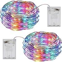 Guirnalda Luces Pilas, OMERIL Luces Navidad Colores 12M 120LED [2 Pack], Luces LED Pilas y Luces Decorativas para…