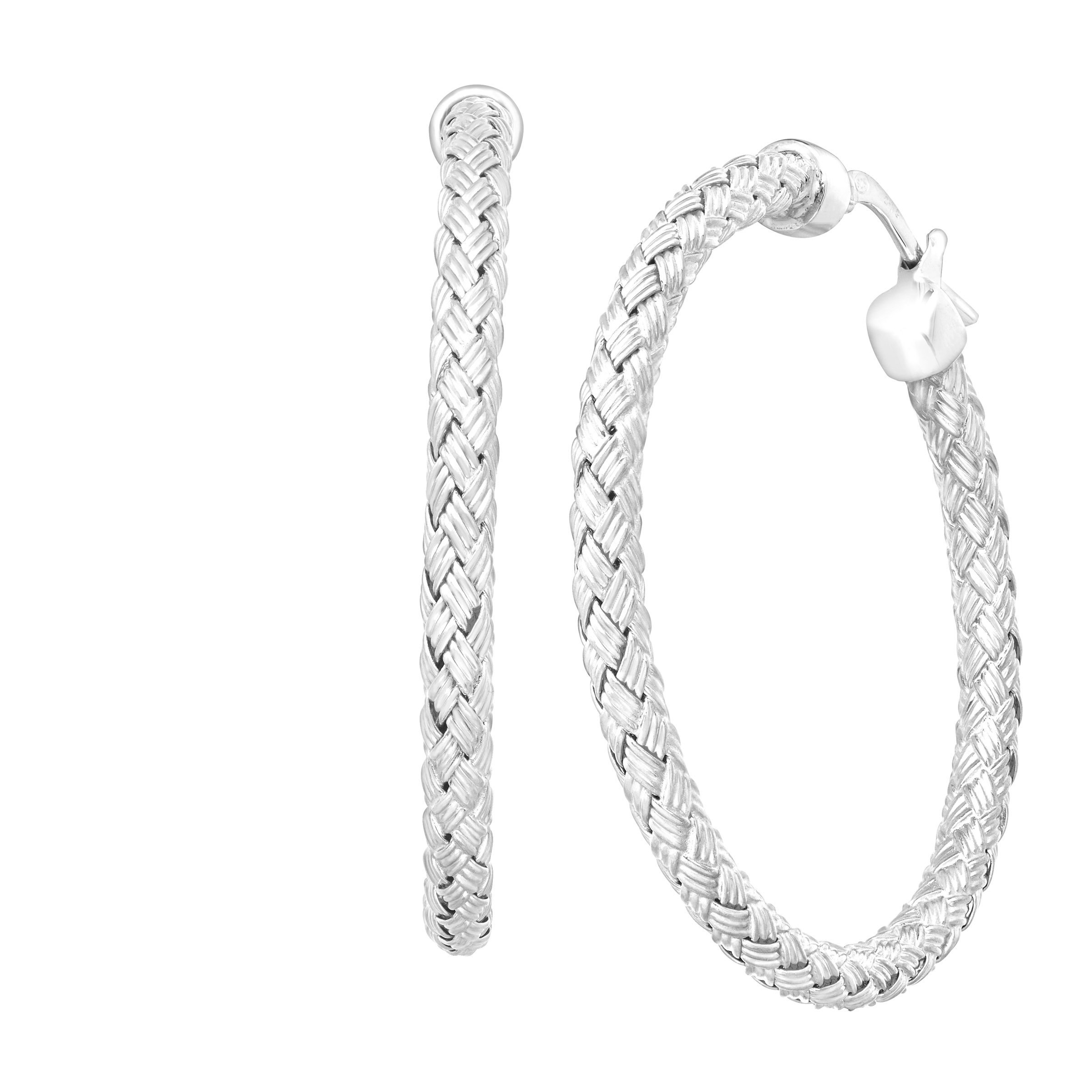 Charles Garnier Milan Woven Hoop Earrings in Sterling Silver