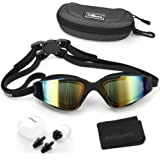 Firesara Swim Goggles, Swimming Goggles UV Protection Anti Fog No Leaking Large Frame Wide View Pool Goggles with Ear Plug Nose Clip & Protective Case for Women Men Adult Youth Kids