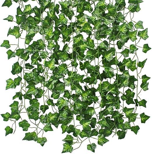 Boston Fern Large Ivy Leaf Foliage Plant Artificial Leaves Vine Flower Green But