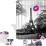 Amagical 16 Piece Chic Grey Paris Eiffel Tower Waterproof Shower Curtain Set Bath Mat Set Contour Mat Toilet Cover Peach…