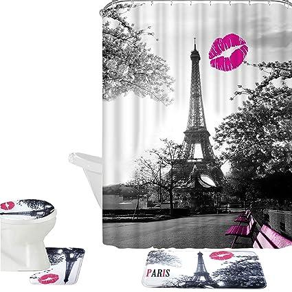 Amagical 16 Piece Chic Grey Paris Eiffel Tower Waterproof Shower Curtain Set Bath Mat Contour