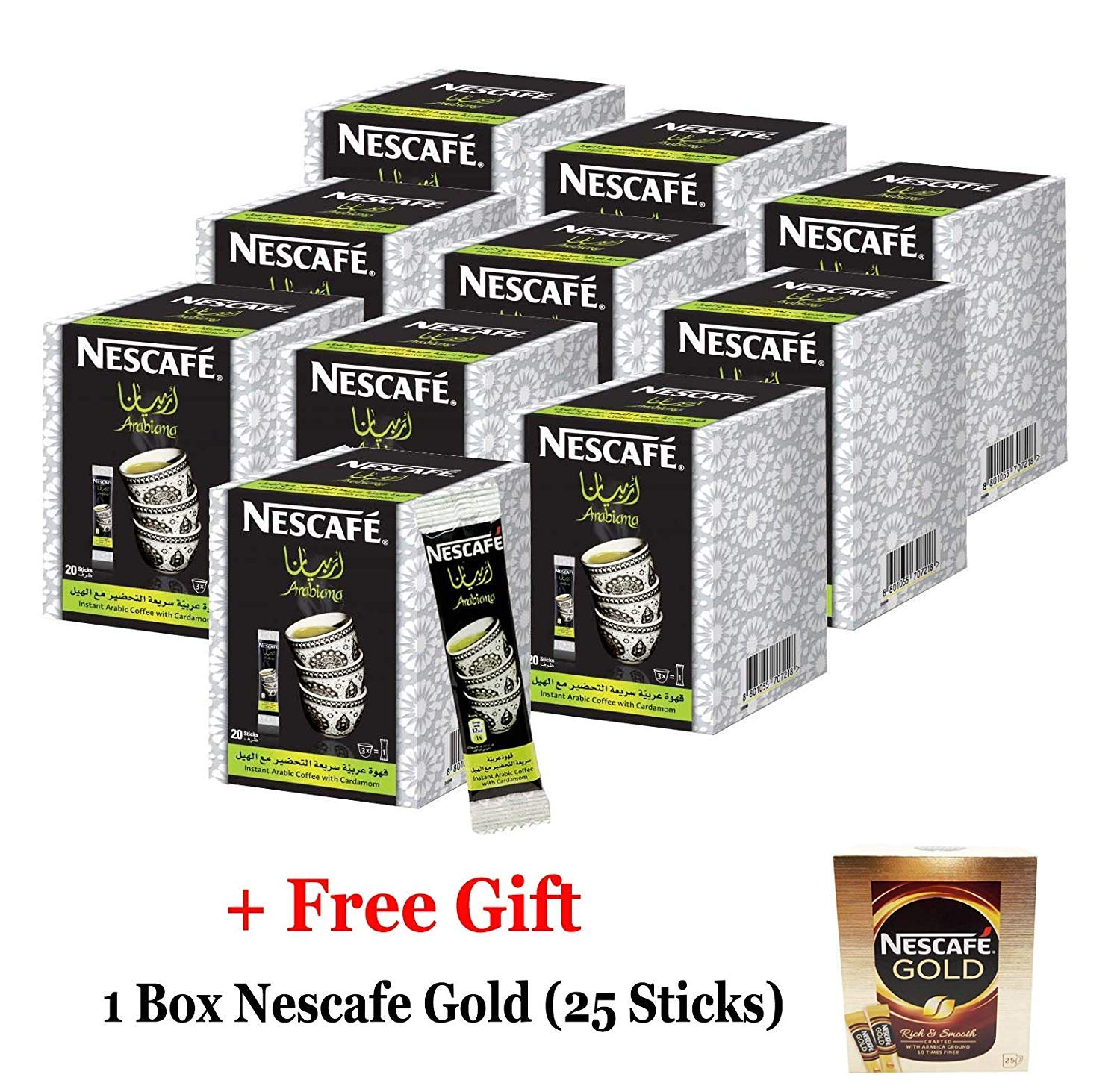 Instant Nescafe Arabiana Arabic Coffee Mix With Cardamom Flavor (12 Boxes (240 Sticks))