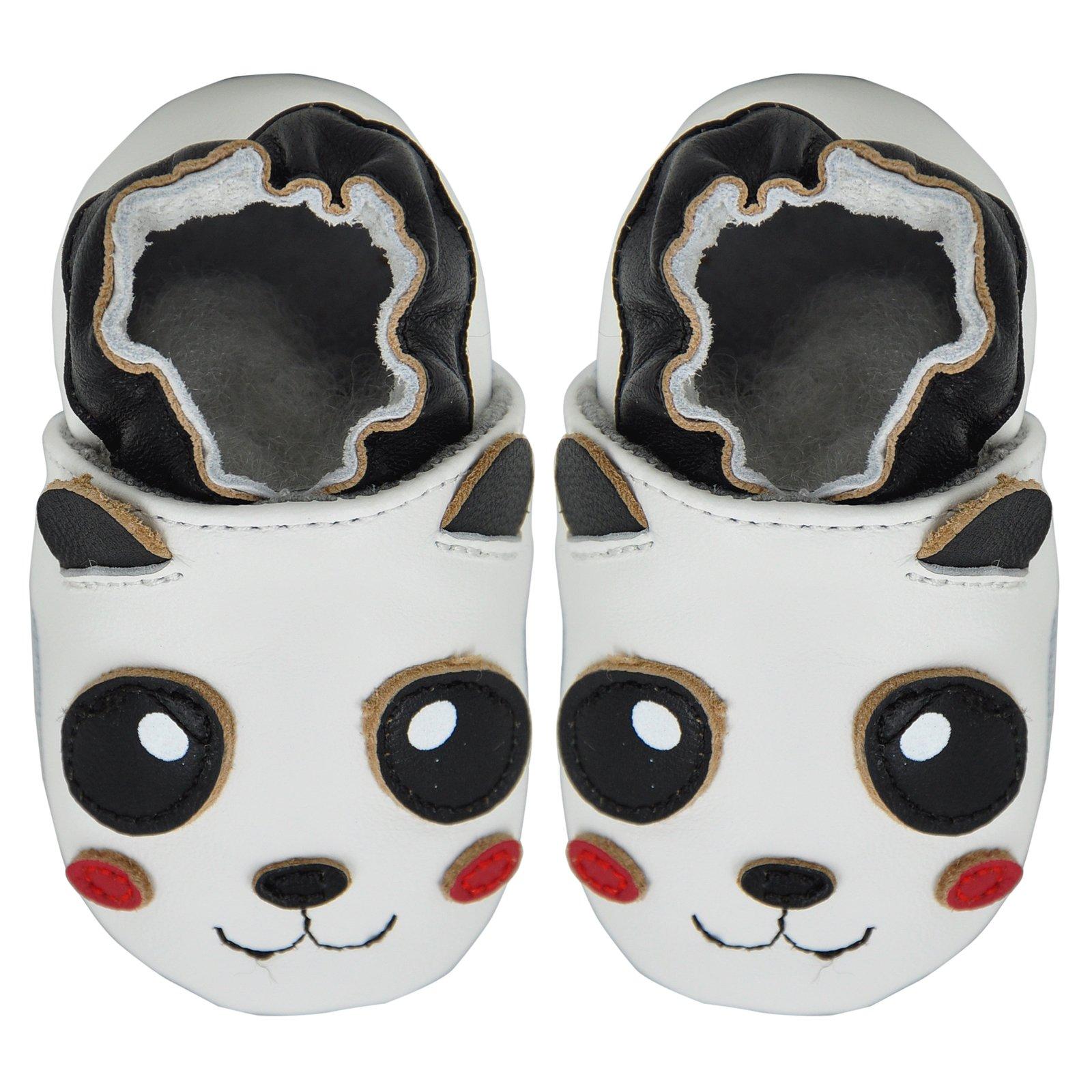 Kimi + Kai Baby Unisex Lambskin Leather Soft Sole Shoes - Panda (6-12 Months) White by Kimi & Kai