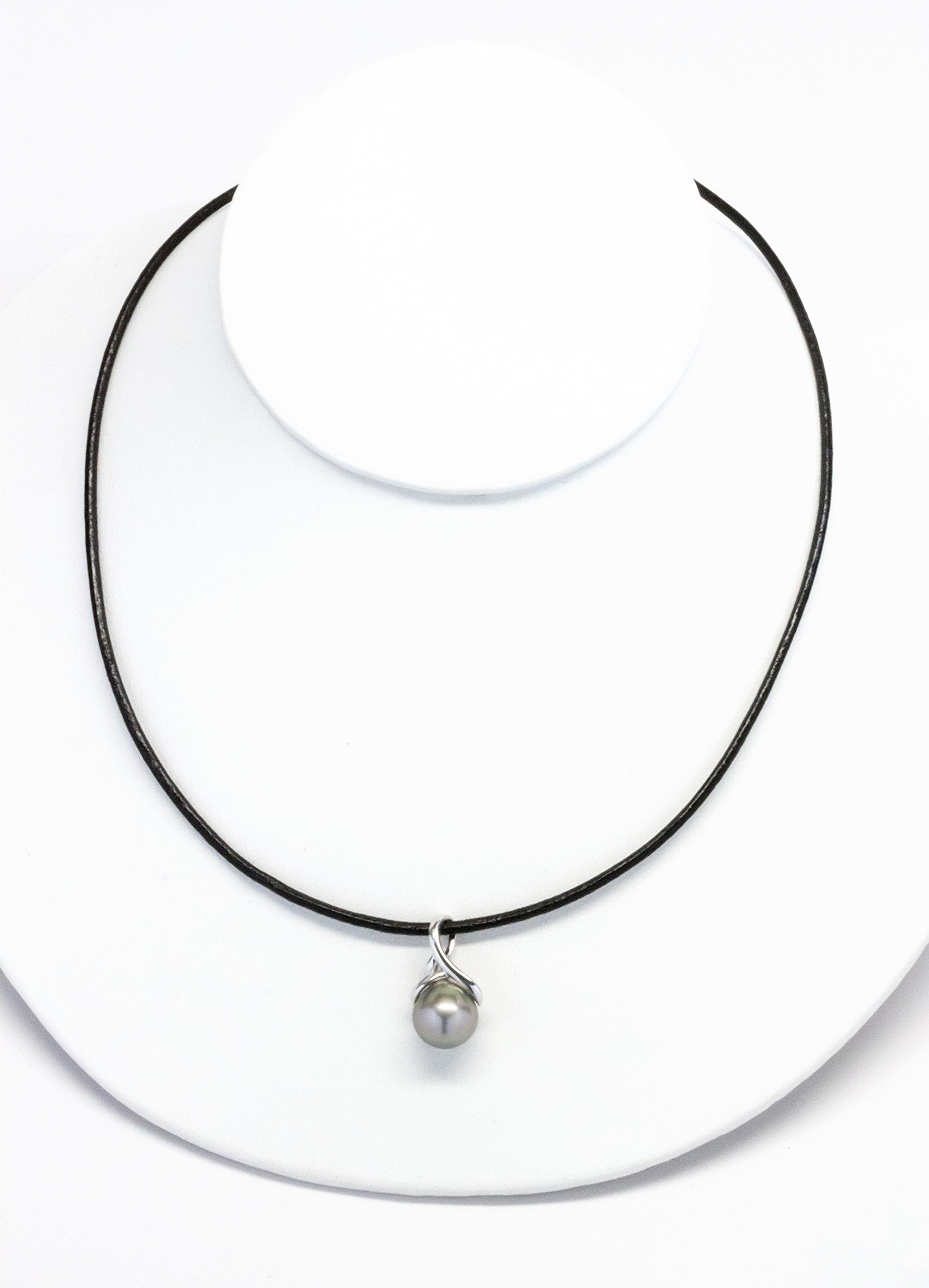 ISAAC WESTMAN Tahitian Baroque Cultured Pearl Pendant,10–12.5mm, High Luster, 2mm Black Leather Cord