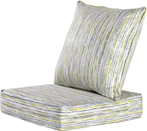 MAXDIVANI Indoor/Outdoor Deep Seating Patio Chair Seat and Back Cushion Set, Spring/Summer Seasonal Water Repellent Fabric Cushions (Grey)