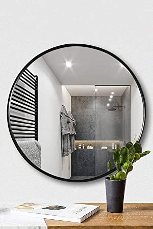Amazon Com 19 69 Clean Round Wall Mirror Circle Wood Mirror Matte Black Frame Dresser Mirror For Entryways Living Rooms Bathroom Home Mirrors Decor Tinytimes Black Kitchen Dining