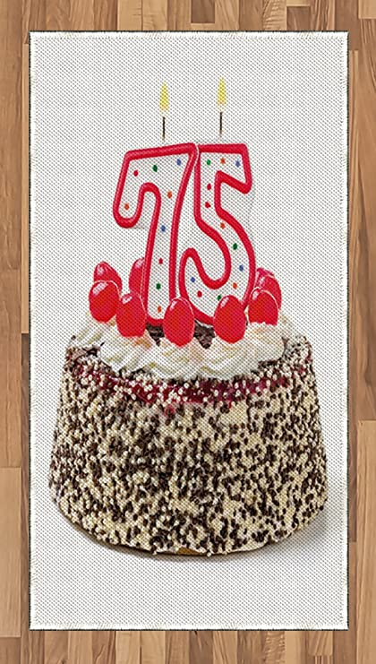 Ambesonne 75th Birthday Area Rug Cute Number Candles On A Delicious Sweet Cake With Cherries
