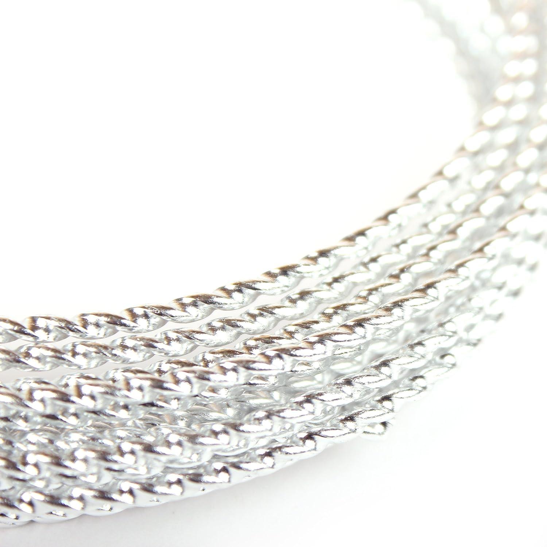 aluminio con superficie estructurada Alambre para manualidades Creacraft Plateado aluminio Diamond Cut 1