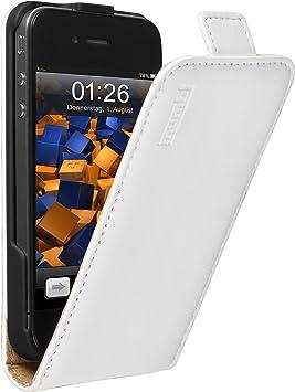 mumbi Etui à clapet pour iPhone 4 / 4S - Étui de protection à rabat Flip Style Blanc