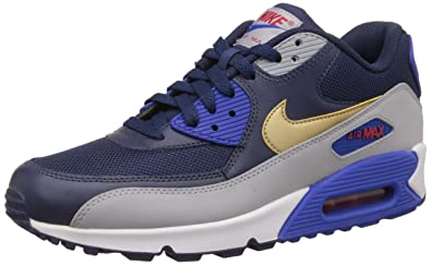 Nike Mens Air Max 90 Essential Midnight Navy, Gold and Grey Running Shoes -  10 .