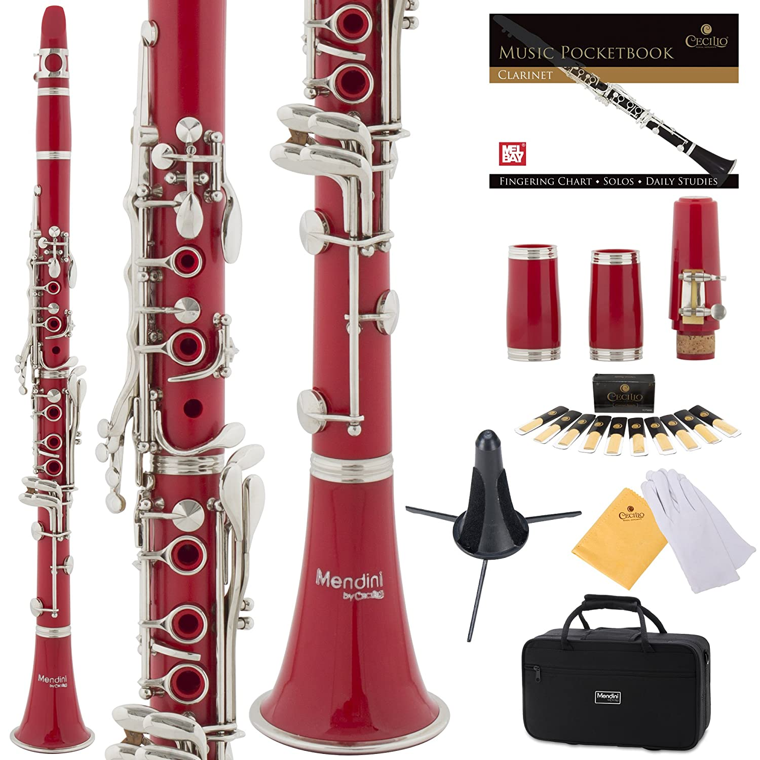 Mendini by Cecilio B Flat Clarinet with 2 Barrels, Case, Stand, Book, 10 Reeds, Mouthpiece and Warranty-Black Ebonite MCT-JE2+SD+PB Cecilio Musical Instruments