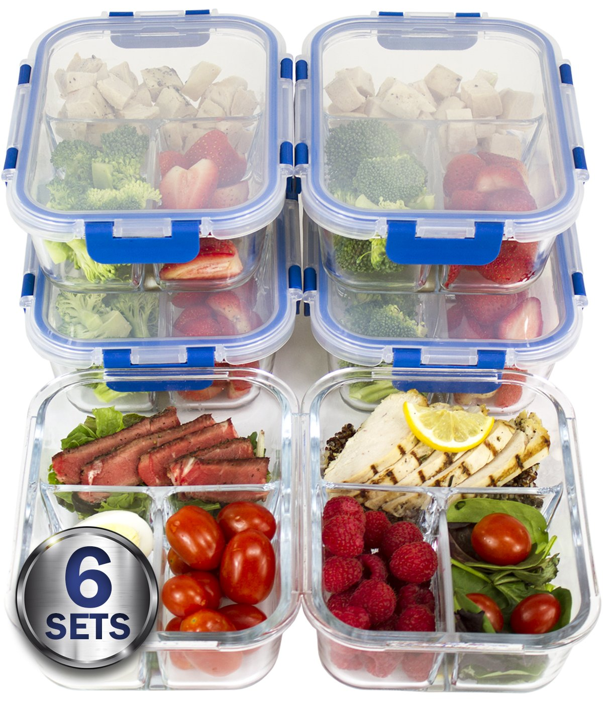 [LIFETIME LIDS 6 PACK] LARGE Premium 6 Sets 3 Compartment Glass Meal Prep Containers 3 Compartment with Snap Locking Lids, BPA-Free, Microwave, Oven, Freezer, Dishwasher Safe (4.5 Cup, 36 Oz,)