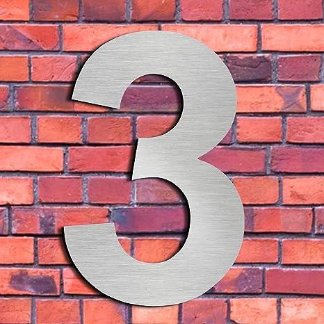 Cepillado número de casa 3 Tres-15.3 cm 6 in-made de sólido Acero inoxidable 304 flotante apariencia, fácil de instalar