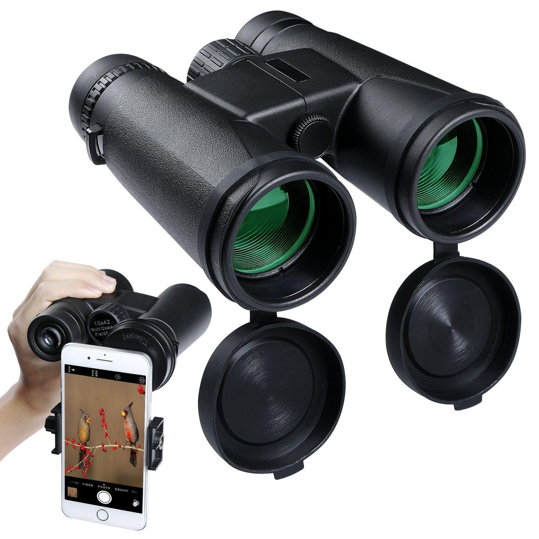 大人の双眼鏡10 x 42コンパクト双眼鏡High Powered双眼鏡防水Fogproof Low Light Night Vision for Bird Watchingアウトドア狩猟キャンプハイキング B07D3RDV6X
