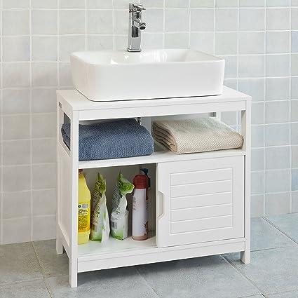 SoBuy®Mueble para debajo del lavabo,armario de baño de suelo,1 ...