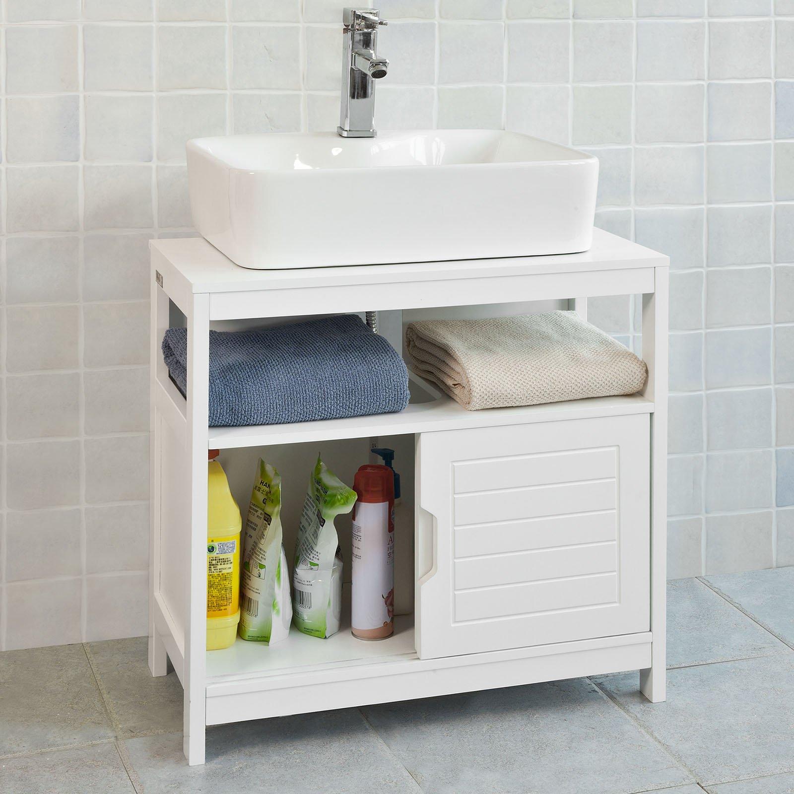 Haotian White Under Sink Bathroom Storage Cabinet With