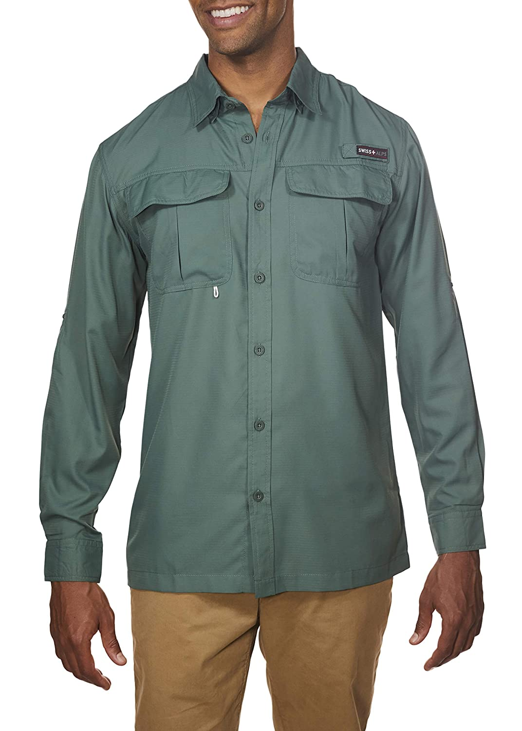 Swiss Alps Mens Long Sleeve Lightweight Breathable Outdoor Fishing Shirt