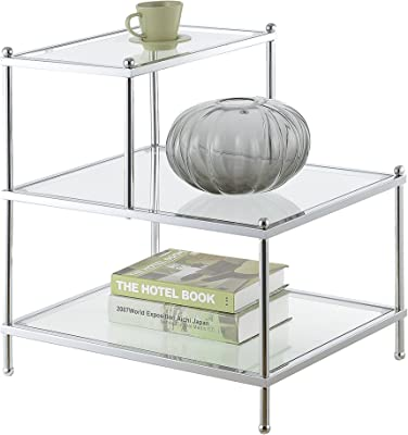 Convenience Concepts 134033 Royal Crest 3-Tier Step End Table, Clear Glass/Chrome Frame