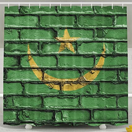 Flag Mauritania Nation Brick Wall Shower Curtain Repellent Fabric Mildew Resistant Machine Washable Bathroom Anti