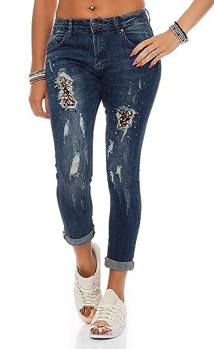 SKUTARI Damen-Jeanshose Boyfriend Trendige Hose mit Löchern oder Nieten