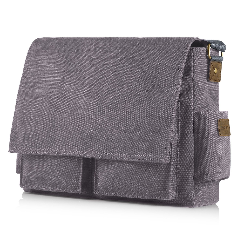 SMRITI 17.3 16 Inch Canvas Messenger Shoulder Bag Laptop Crossbody Men Work Book Shool Bag - Black Brandworl SMRSH1601-P