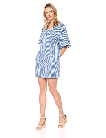 507a9ed299894 kensie Women's Gingham Check Tiered Sleeve Dress at Amazon Women's Clothing  store: