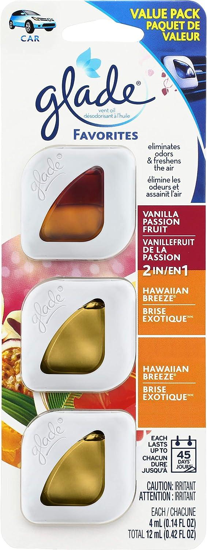 Glade Automotive Vent Oil Air Freshener: 2-in-1 Hawaiian Breeze & Vanilla Passion Fruit and Hawaiian Breeze; 4mL Each, 3 Count
