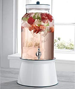 Home Essentials Fiddle and Fern Gallon Dispenser with White Enamel Base