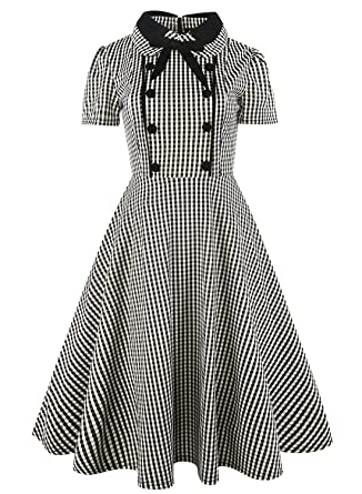 4933da543f13 Women Vintage Rockabilly Swing Dress Bow Evening Retro Party Plaid Cotton  Dresses with Short Sleeves 212