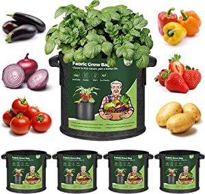 T4U Fabric Plant Grow Bags with Handles 3 Gallon Pack of 5, Heavy Duty Nonwoven Smart Garden Pot Thickened Aeration Nursery Container Black for Outdoor Potato, Tomato, Chili, Carrot and Vegetables