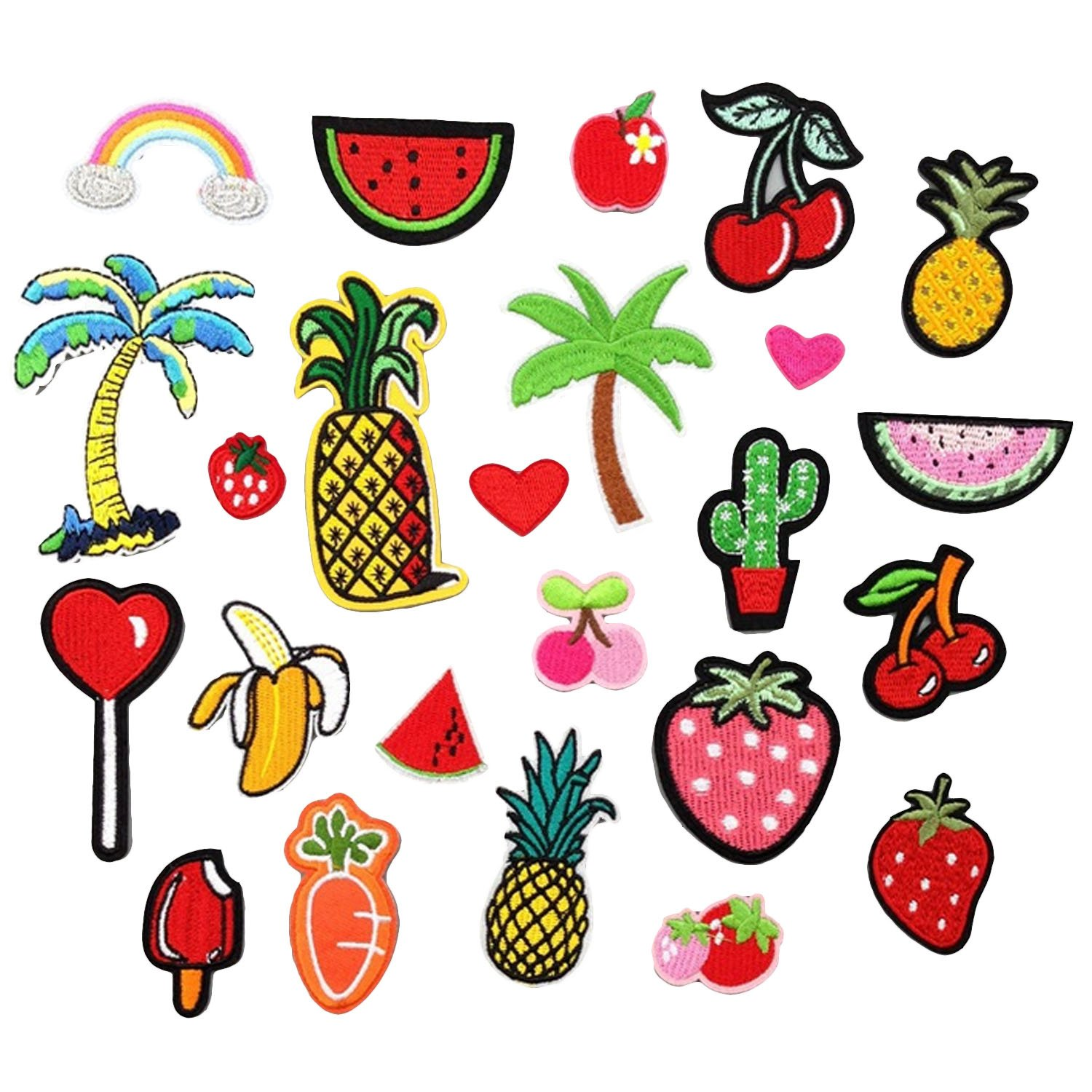 24 PCS Funny DIY Clothes Patches Embroidery Cartoon Fruits Banana Cactus Strawberry Patches for T-shirt Jeans Clothing Bags Gosear