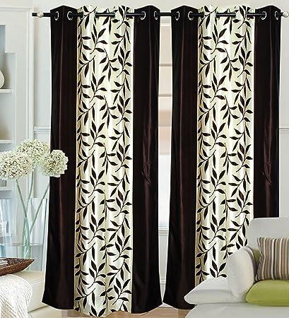 Buy Fantasy Home Decor Premium Border Flower Curtain 47 Brown 2