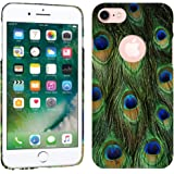 iPhone 7 Case / iPhone 8 Case - Peacock Feathers Hard Plastic Back Cover. Slim Profile Cute Printed Designer Snap on Case by Glisten