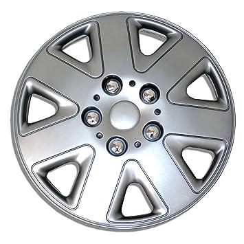 tuningpros estilo # 026 Tapacubos rueda piel funda plata conjunto de 4: Amazon.es: Coche y moto
