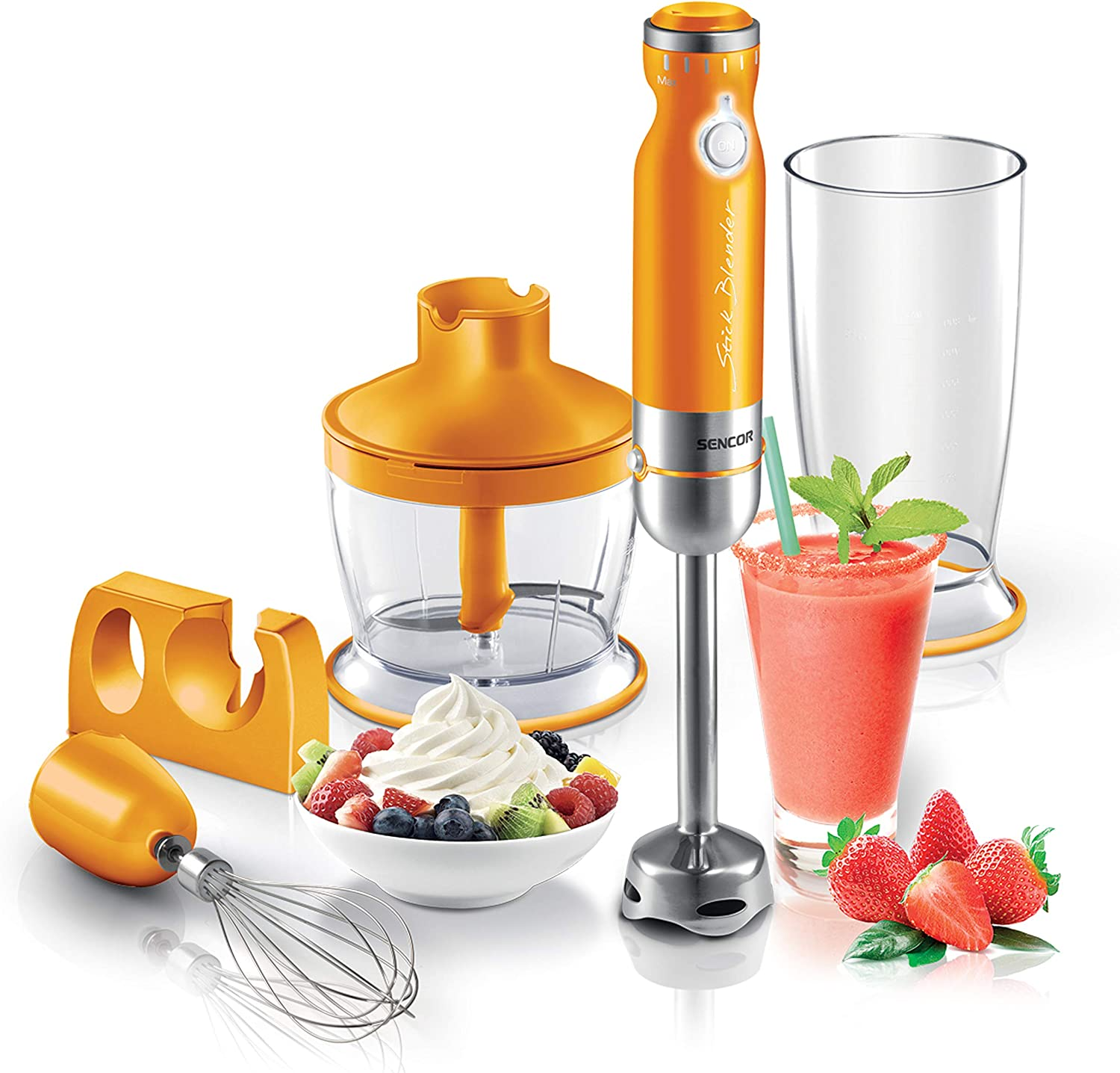 Sencor Ultra Quiet and Thin Stainless Steel Stick Blender with Variable Speed Control and Accessories, Small, Orange