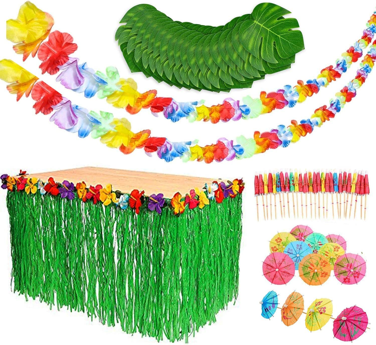 Luau Party Decorations Set - Luau Party Supplies - Hawaiian Beach Party - Grass Table Skirt - Hawaiian Garland - Drink Umbrellas - Palm Leaves - By Tigerdoe