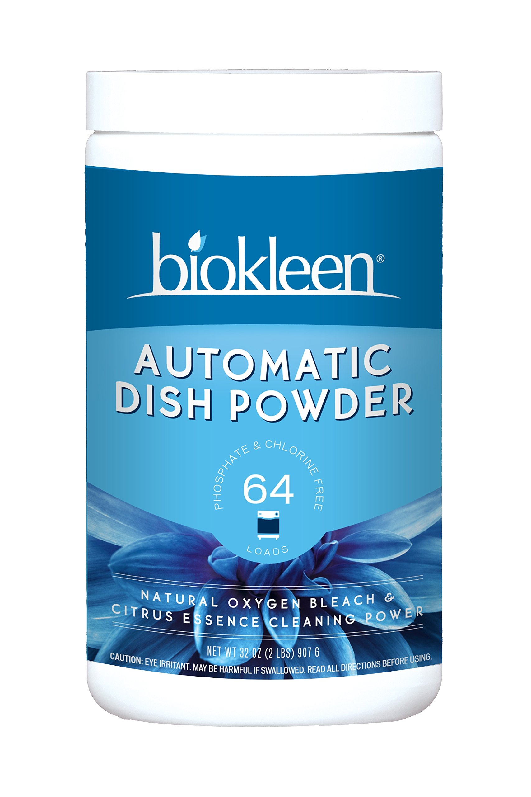 Biokleen Automatic Dish Powder, Dishwasher Detergent, Natural Oxygen Bleach & Citrus Essence Cleaning Powder, 2 Pounds (Pack of 12)