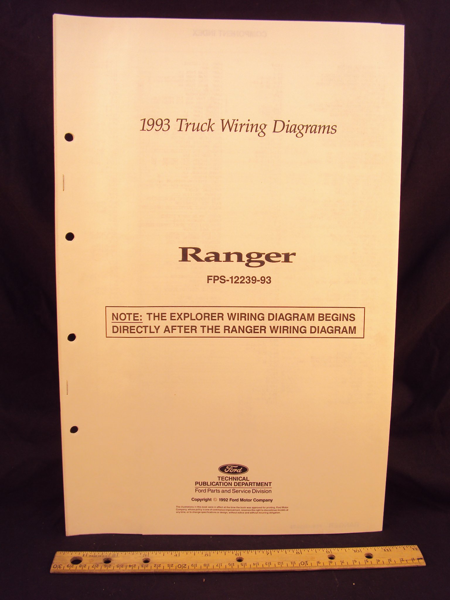 1993 Ford Ranger Truck Electrical Wiring Diagrams Schematics 1992 Schematic Motor Company Books