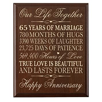 Amazon 65th Wedding Anniversary Wall Plaque Gifts For Couple
