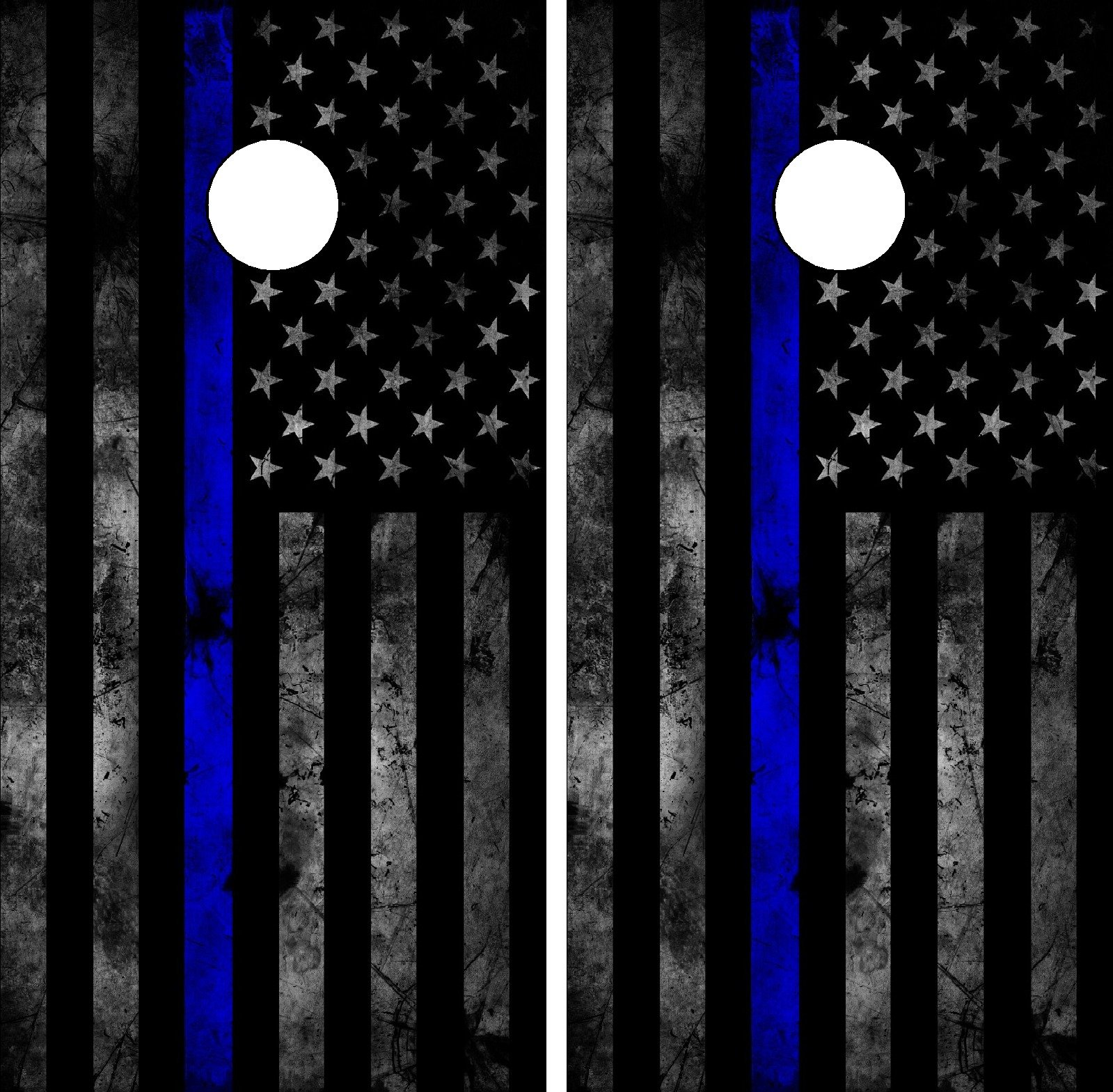 C202 American Police Flag Cornhole WRAP Wraps Laminated Board Boards Decal Set Decals Vinyl Sticker Stickers Bean Bag Game Vinyl Graphic Tint Image SPON