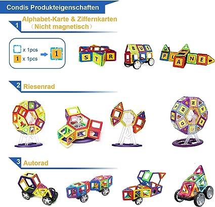 Bloques de Construcción Magnéticos, CONDIS Magnéticos Construcciones Imantados Magnéticas 95 Piezas Juegos de Construcción Para La Educación Del Niño de Los Ladrillos de Construcción Juguetes Ferris Wheel y Bolsa de Almacenamiento Incluida: