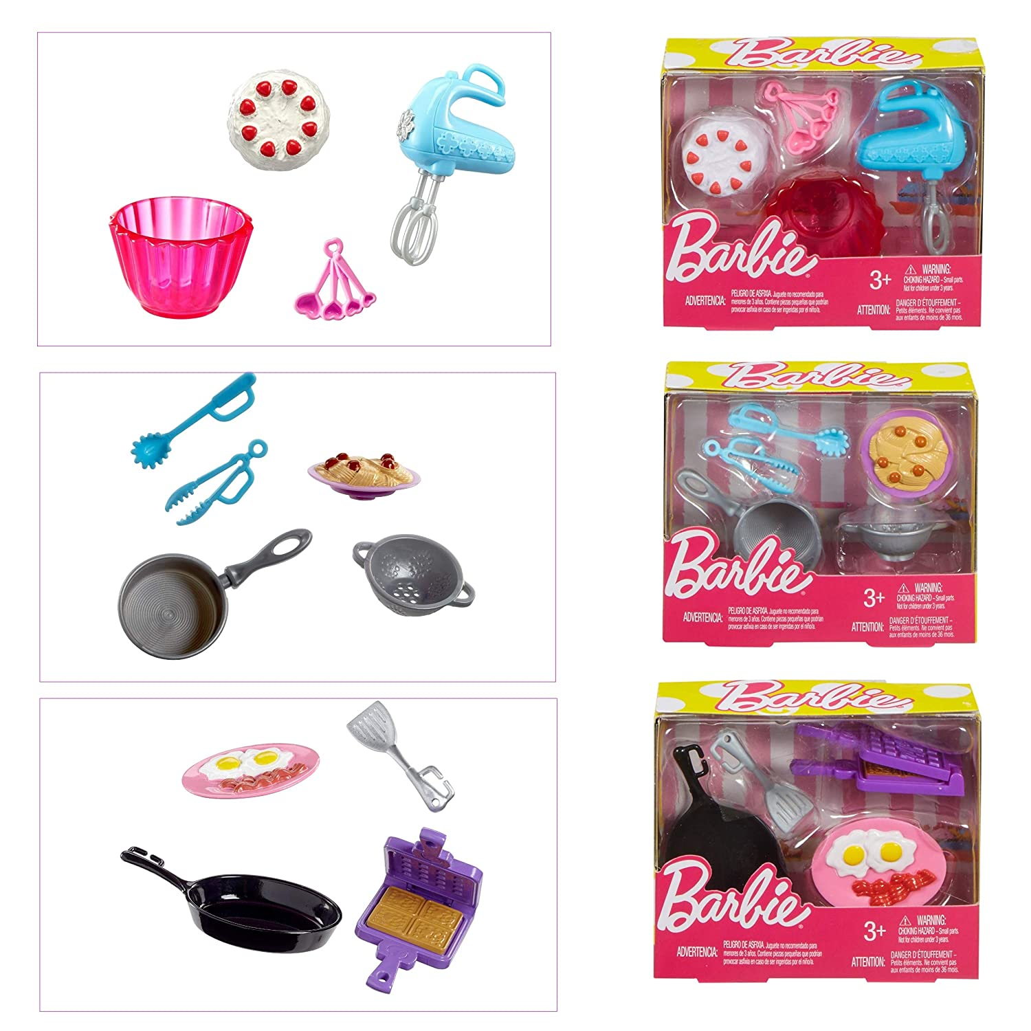 Kitchen Breakfast Pasta & Baking Accessory Playsets with Coloring Book for Barbie
