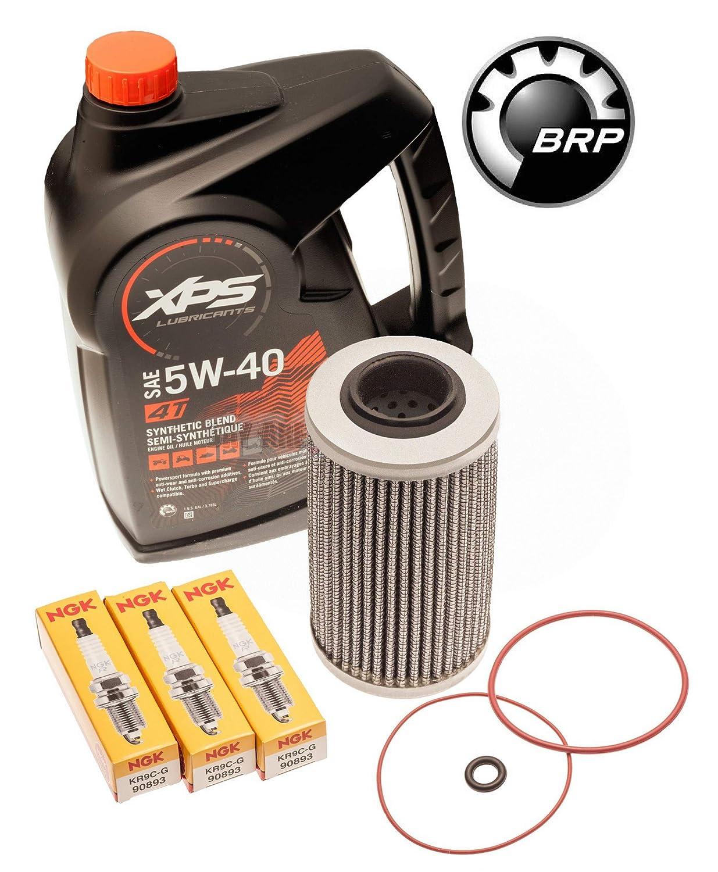 Sea Doo 300HP Oil Change Kit W/ Filter O Rings & Spark Plugs RXPX RXTX GTX 300 BRP Sea Doo