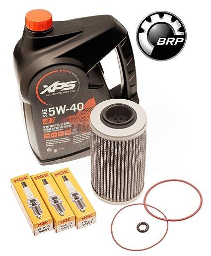 Sea Doo 300HP Oil Change Kit W/ Filter O Rings & Spark Plugs RXPX RXTX GTX  300