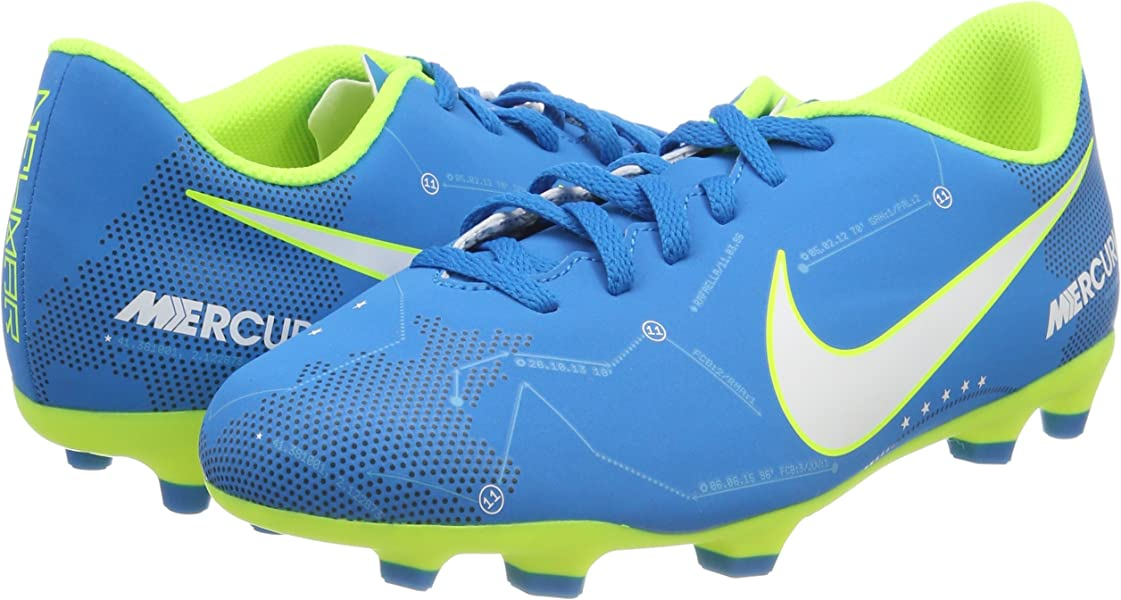81bea191afe Nike JR Mercurial Vortex III NJR FG Soccer Cleat Blue Orbit White Armory  Navy. Back. Double-tap to zoom