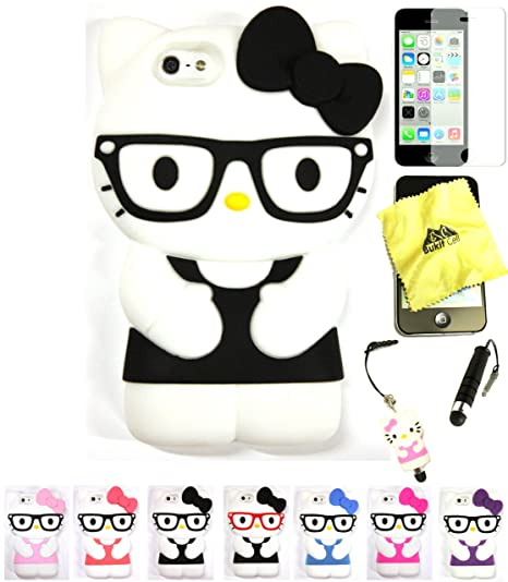 info for 82c20 f5489 Bukit Cell ® Hello Kitty Nerd Case Bundle - 5 items: BLACK 3D Hello Kitty (  with Glasses ) Soft Silicone Case Cover for IPHONE 5C + BUKIT CELL ...